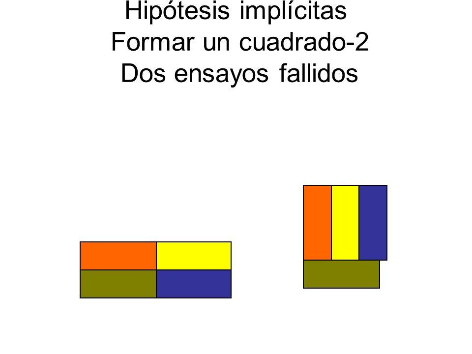 Hipótesis implícitas Formar un cuadrado-2 Dos ensayos fallidos