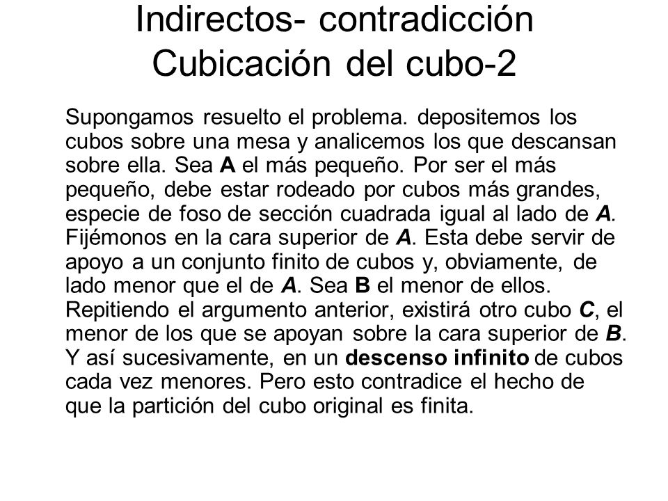 Indirectos- contradicción Cubicación del cubo-2