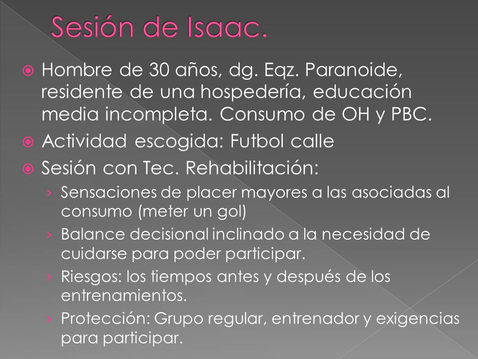 Sesión de Isaac. Hombre de 30 años, dg. Eqz. Paranoide, residente de una hospedería, educación media incompleta. Consumo de OH y PBC.