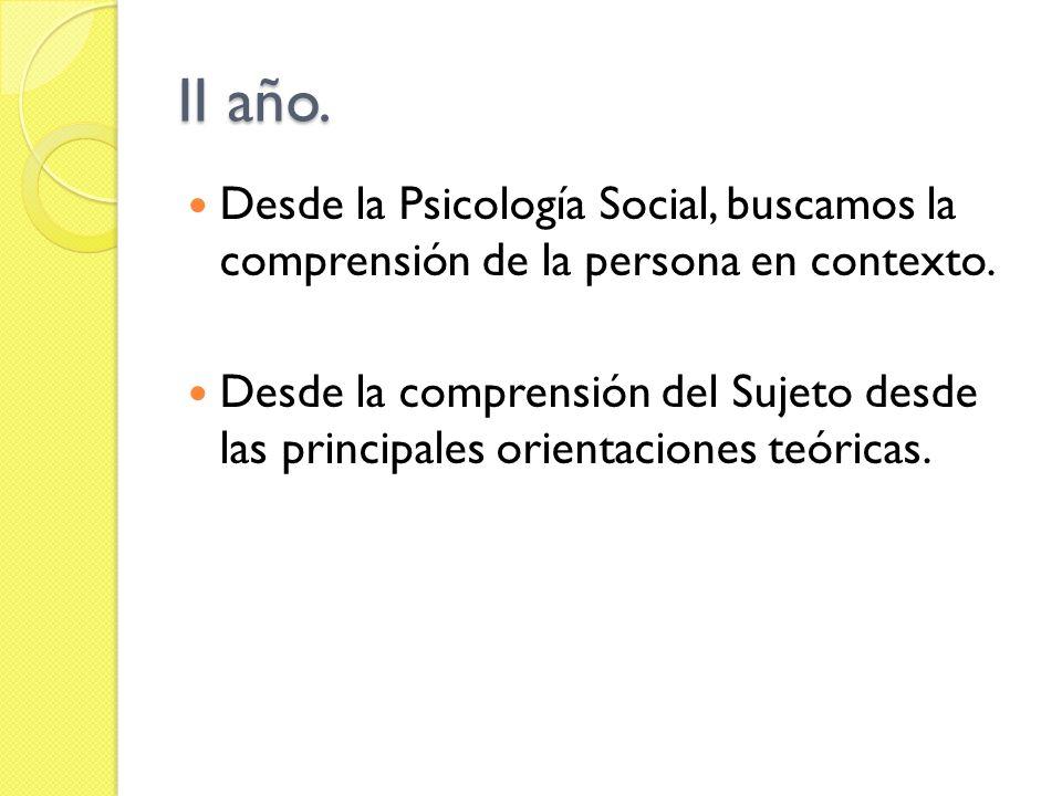II año.Desde la Psicología Social, buscamos la comprensión de la persona en contexto.