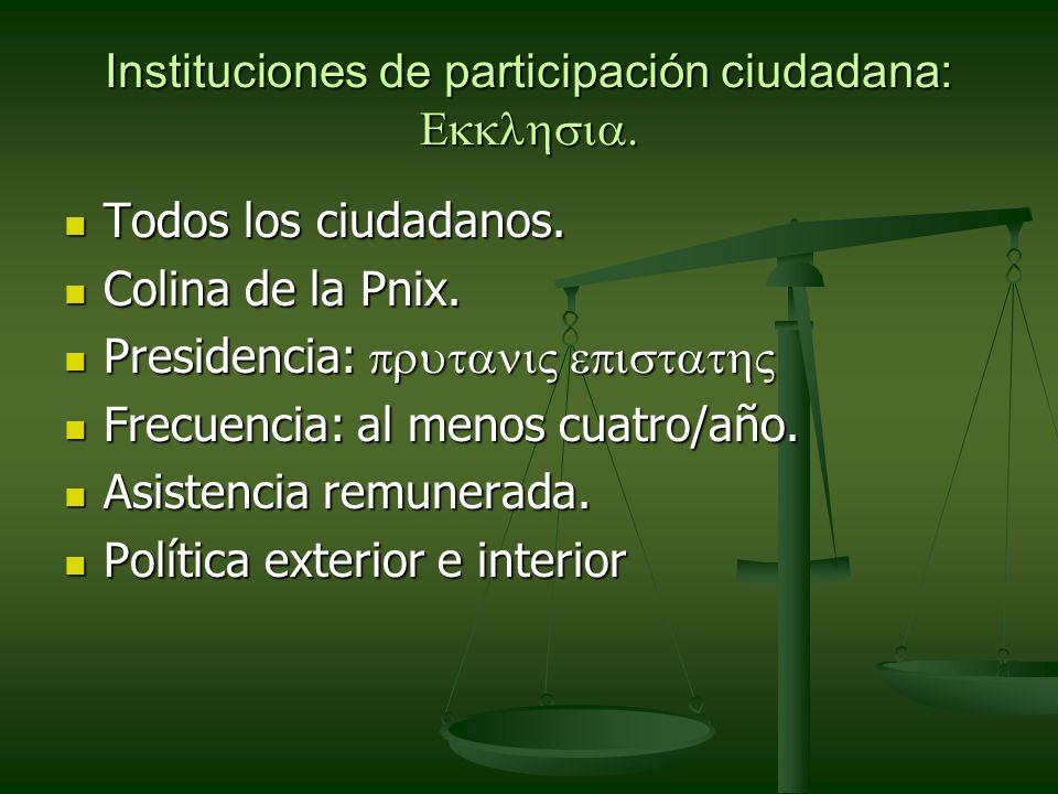 Instituciones de participación ciudadana: Ekklhsia.