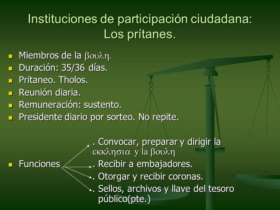 Instituciones de participación ciudadana: Los prítanes.