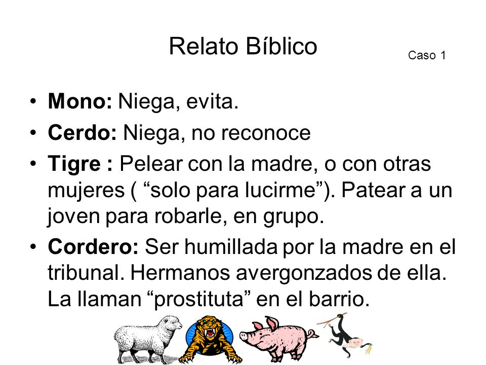 Relato Bíblico Mono: Niega, evita. Cerdo: Niega, no reconoce