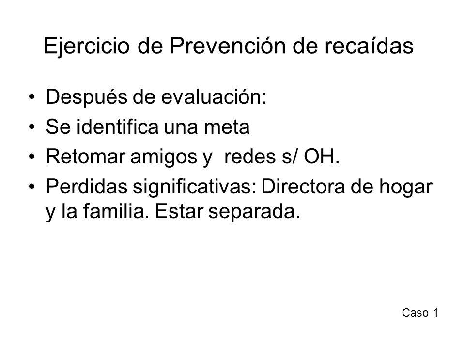 Ejercicio de Prevención de recaídas