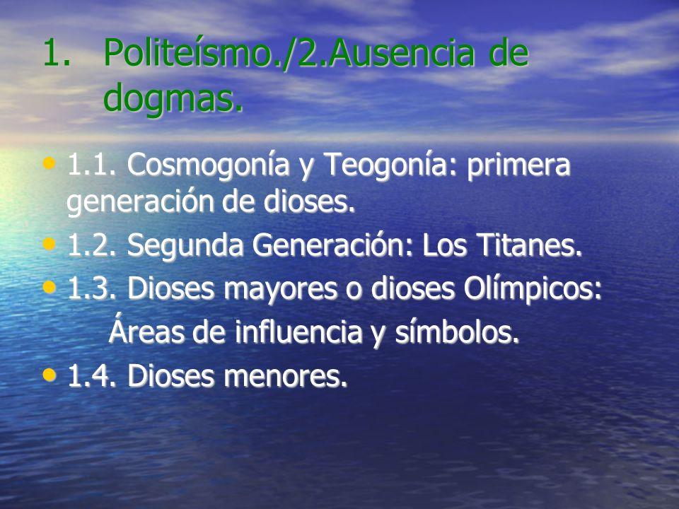 Politeísmo./2.Ausencia de dogmas.