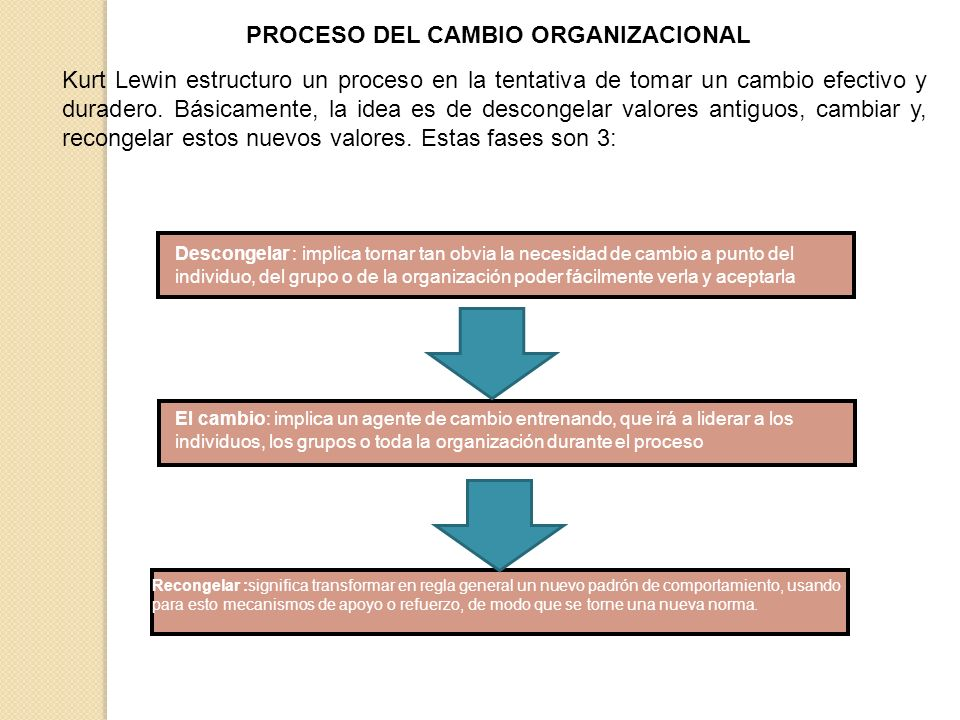 PROCESO DEL CAMBIO ORGANIZACIONAL