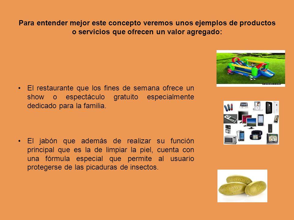 Para entender mejor este concepto veremos unos ejemplos de productos o servicios que ofrecen un valor agregado: