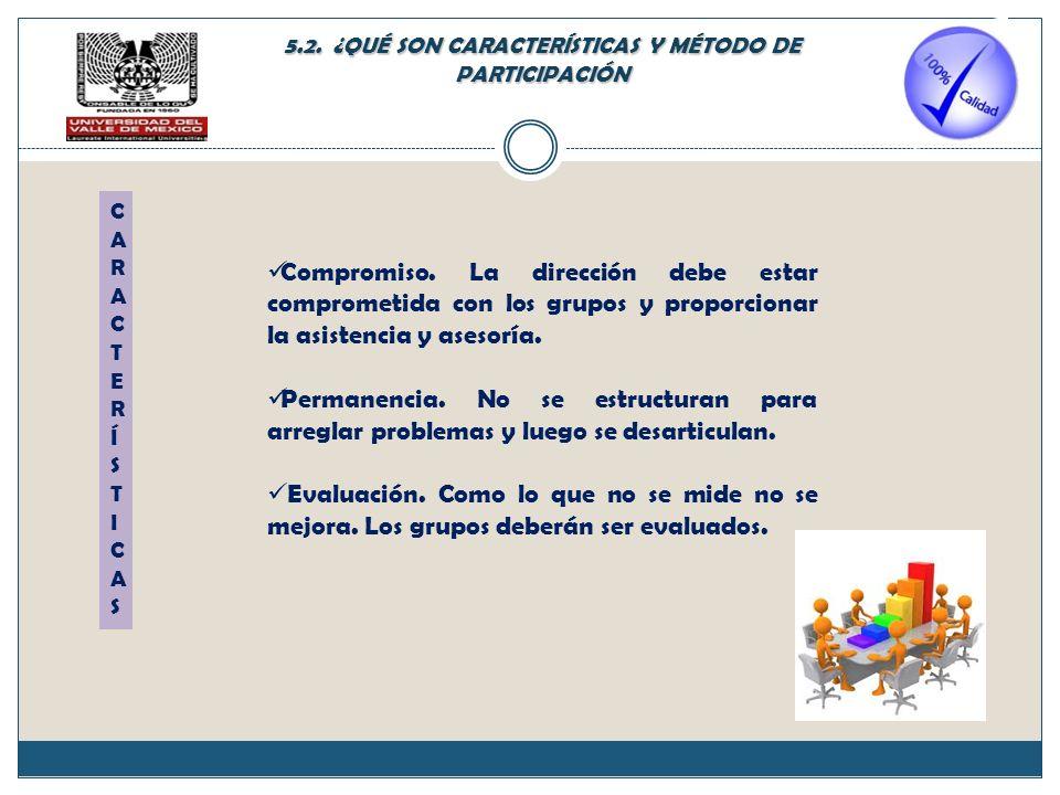 5.2. ¿QUÉ SON CARACTERÍSTICAS Y MÉTODO DE PARTICIPACIÓN