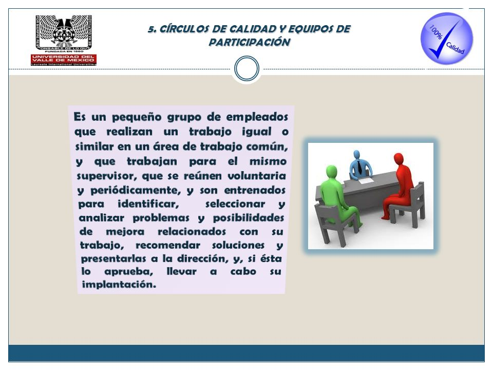 5. CÍRCULOS DE CALIDAD Y EQUIPOS DE PARTICIPACIÓN