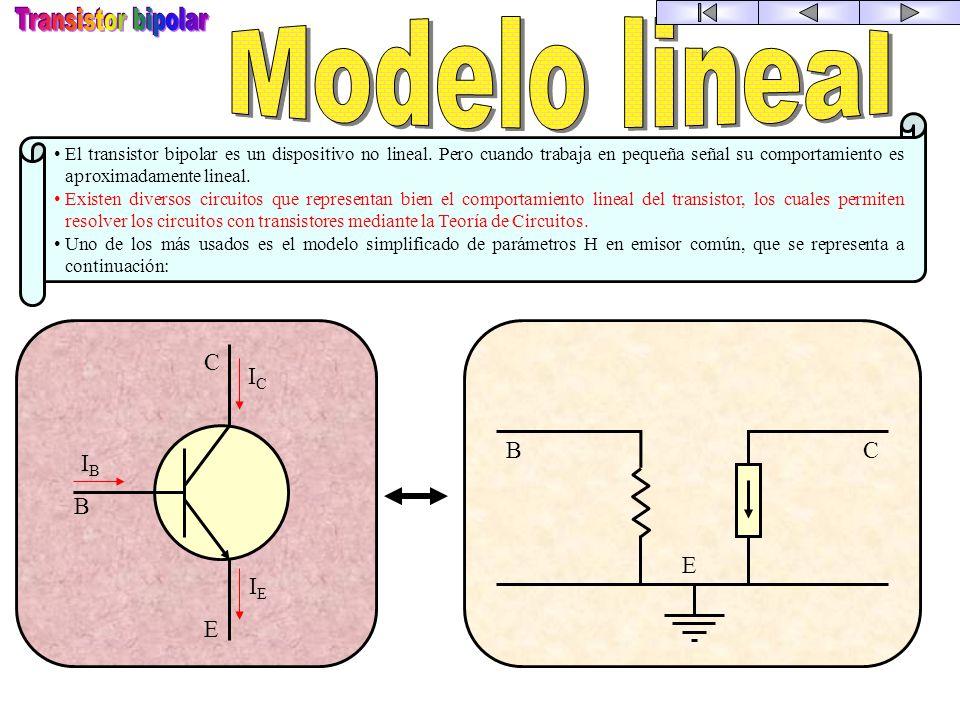 Transistor bipolar Modelo lineal E B C IC IB IE E B C
