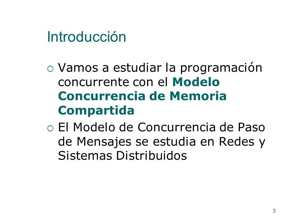 Introducción Vamos a estudiar la programación concurrente con el Modelo Concurrencia de Memoria Compartida.