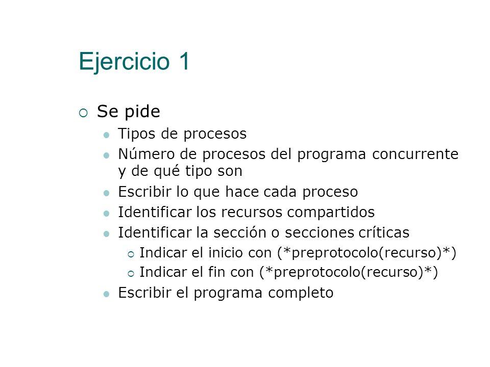 Ejercicio 1 Se pide Tipos de procesos