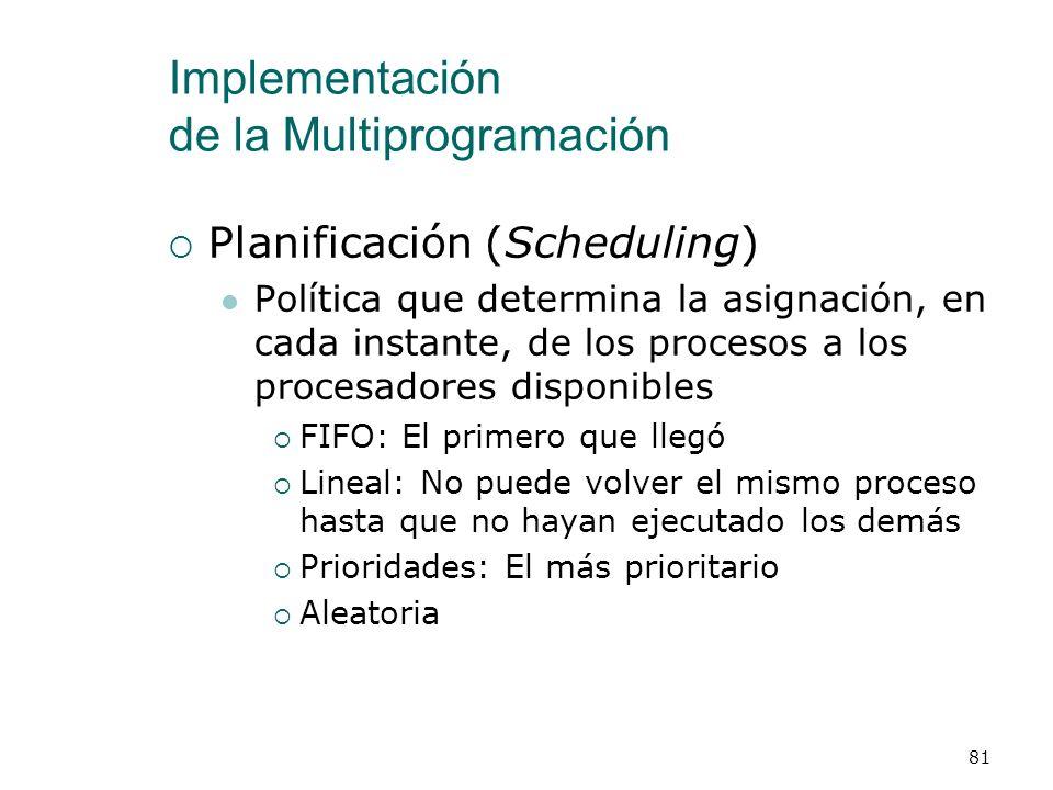 Implementación de la Multiprogramación