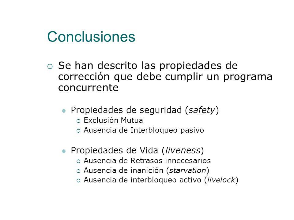 Conclusiones Se han descrito las propiedades de corrección que debe cumplir un programa concurrente.
