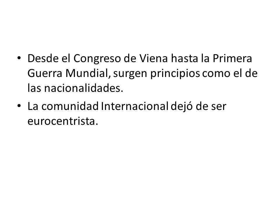 Desde el Congreso de Viena hasta la Primera Guerra Mundial, surgen principios como el de las nacionalidades.