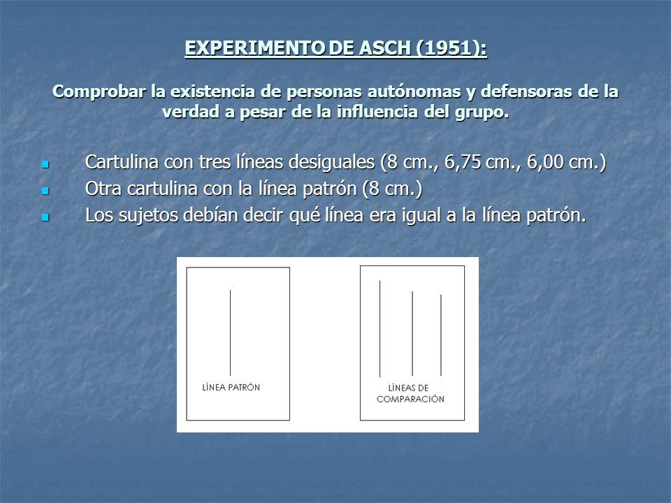 EXPERIMENTO DE ASCH (1951): Comprobar la existencia de personas autónomas y defensoras de la verdad a pesar de la influencia del grupo.