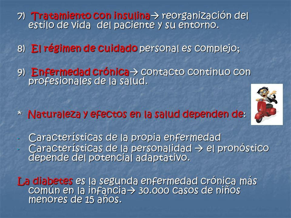 7) Tratamiento con insulina reorganización del estilo de vida del paciente y su entorno.