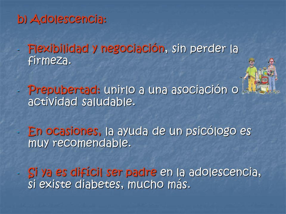 b) Adolescencia: Flexibilidad y negociación, sin perder la firmeza. Prepubertad: unirlo a una asociación o actividad saludable.
