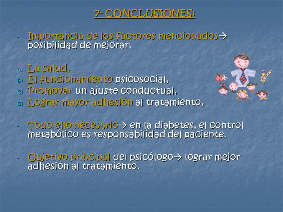 7- CONCLUSIONES: Importancia de los factores mencionados posibilidad de mejorar: La salud. El funcionamiento psicosocial,