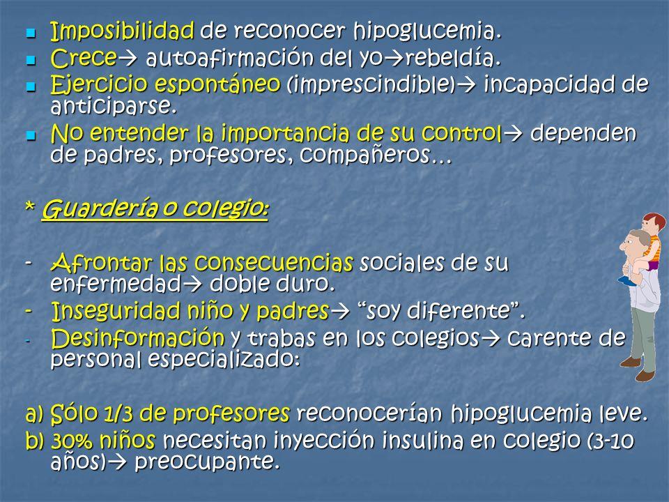 Imposibilidad de reconocer hipoglucemia.
