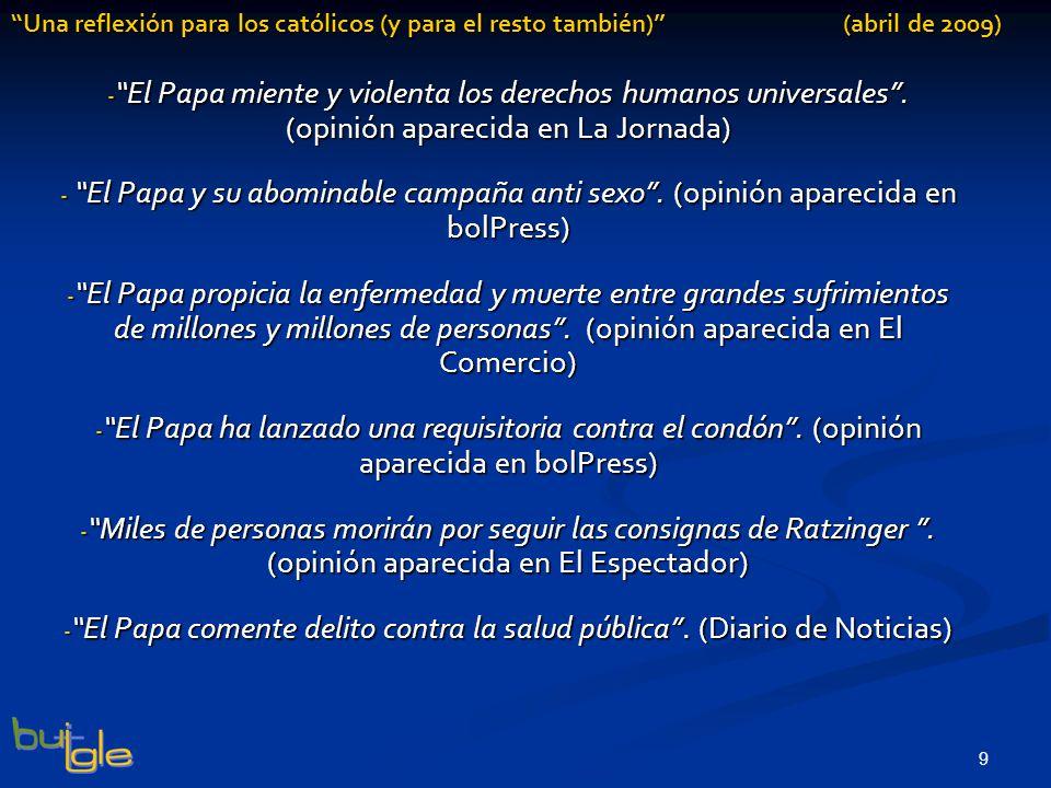 El Papa comente delito contra la salud pública . (Diario de Noticias)