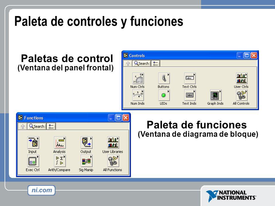 Paleta de controles y funciones