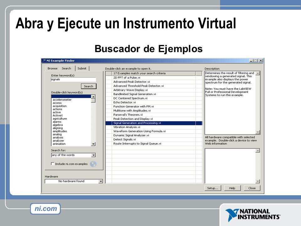 Abra y Ejecute un Instrumento Virtual