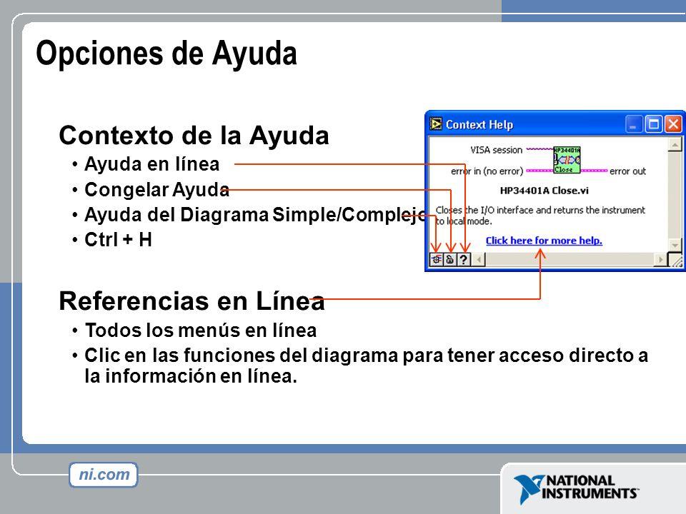 Opciones de Ayuda Contexto de la Ayuda Referencias en Línea