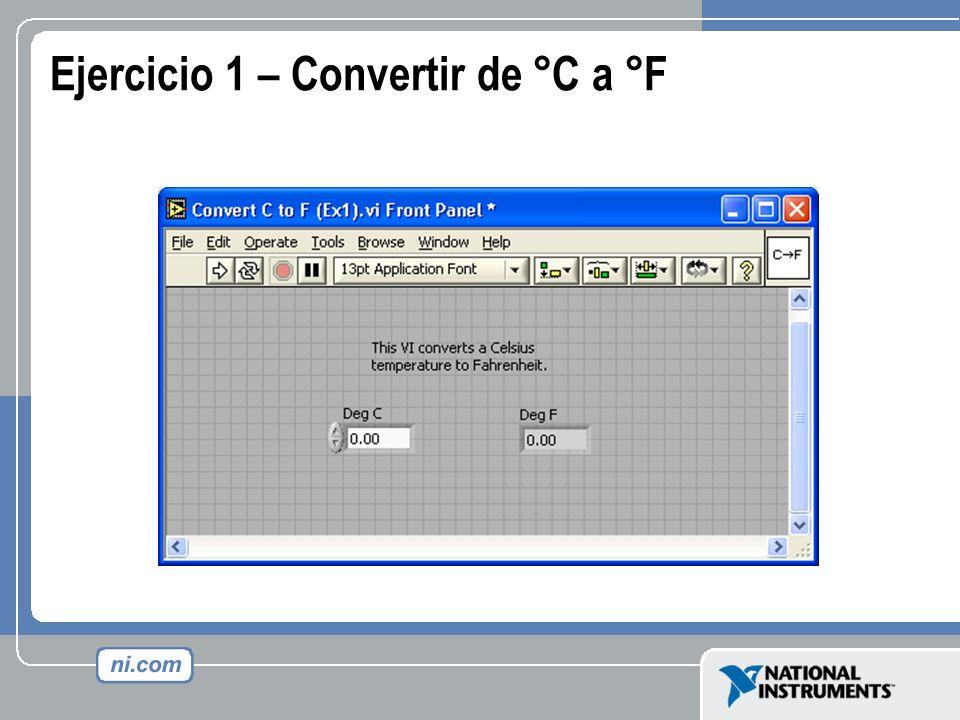 Ejercicio 1 – Convertir de °C a °F