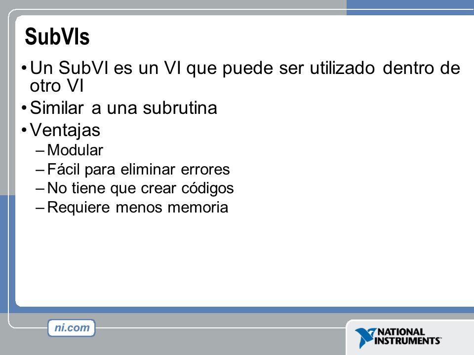 SubVIs Un SubVI es un VI que puede ser utilizado dentro de otro VI