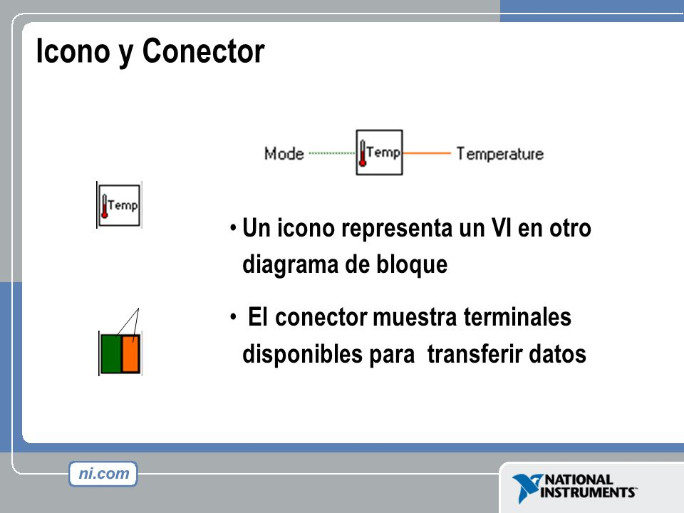 Icono y Conector Un icono representa un VI en otro diagrama de bloque