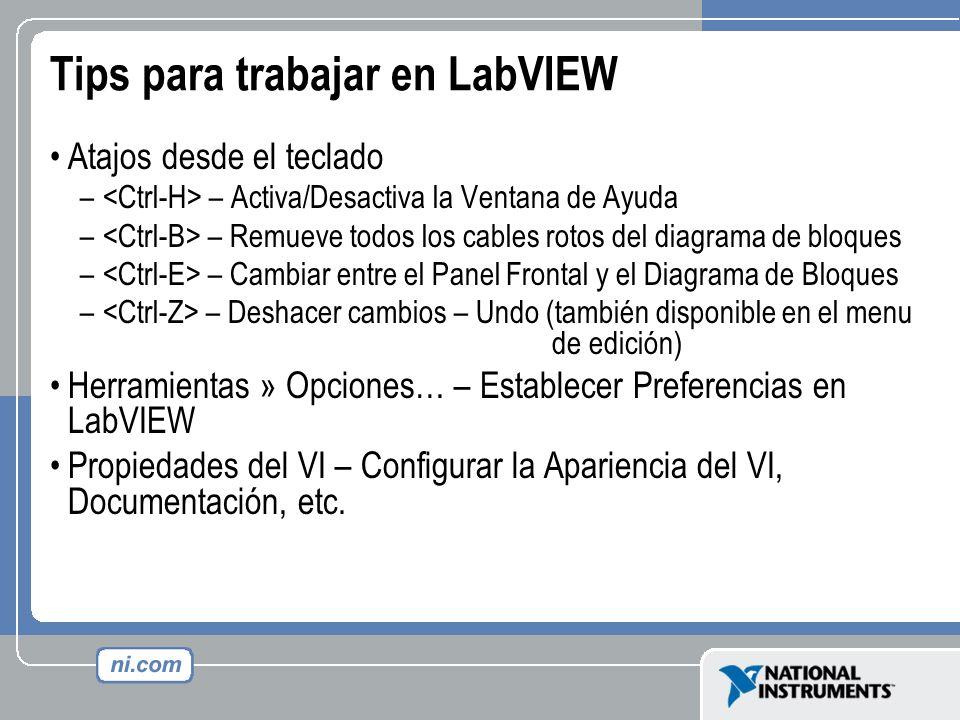 Tips para trabajar en LabVIEW