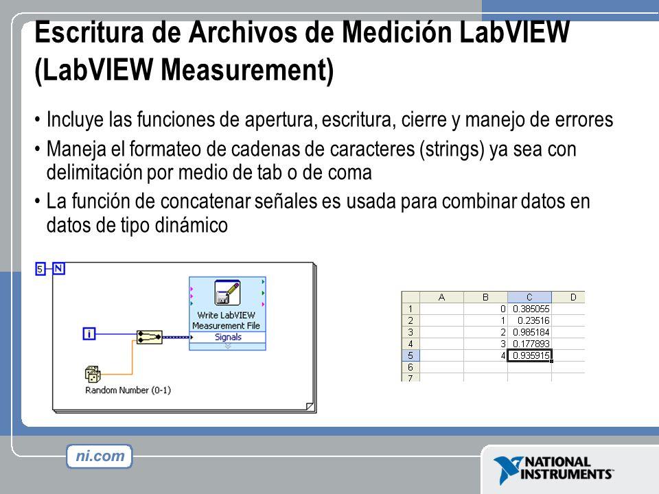 Escritura de Archivos de Medición LabVIEW (LabVIEW Measurement)