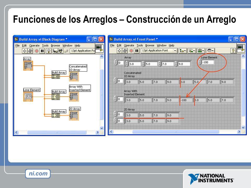 Funciones de los Arreglos – Construcción de un Arreglo