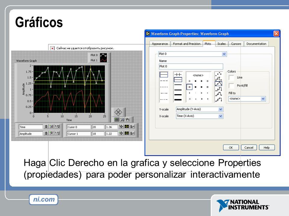 Gráficos Haga Clic Derecho en la grafica y seleccione Properties