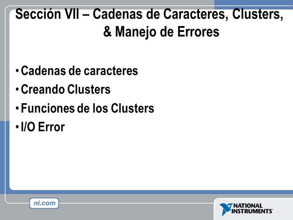 Sección VII – Cadenas de Caracteres, Clusters, & Manejo de Errores