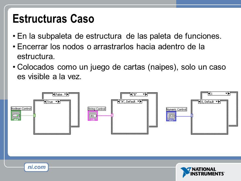 Estructuras Caso En la subpaleta de estructura de las paleta de funciones. Encerrar los nodos o arrastrarlos hacia adentro de la estructura.