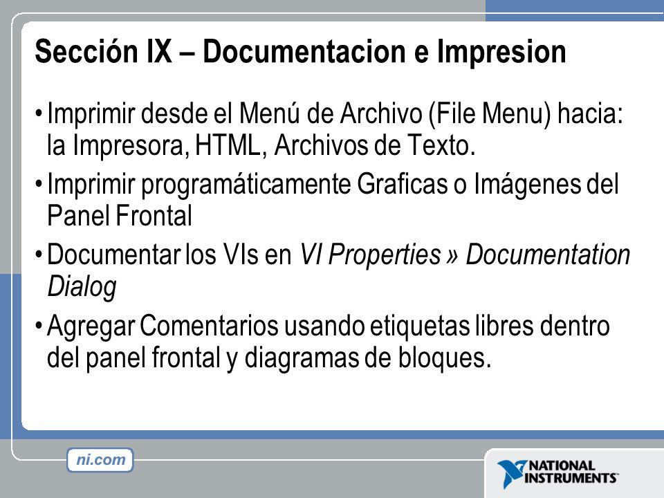 Sección IX – Documentacion e Impresion