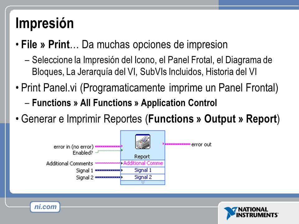 Impresión File » Print… Da muchas opciones de impresion