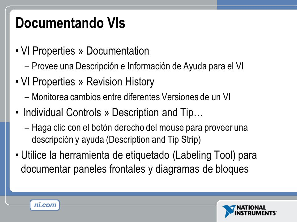 Documentando VIs VI Properties » Documentation