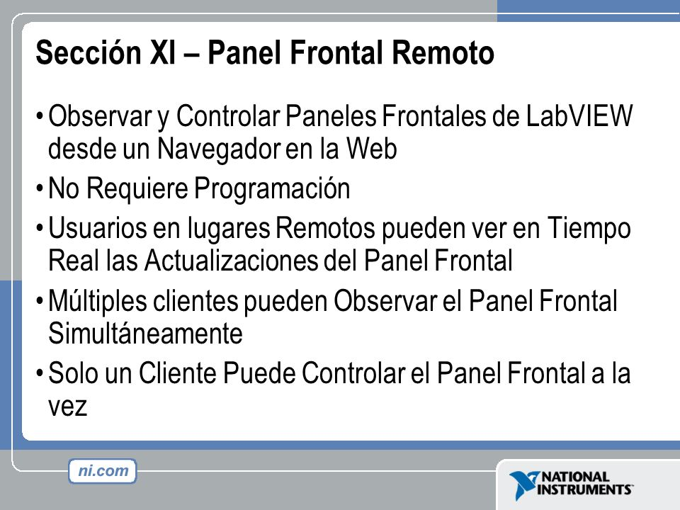 Sección XI – Panel Frontal Remoto