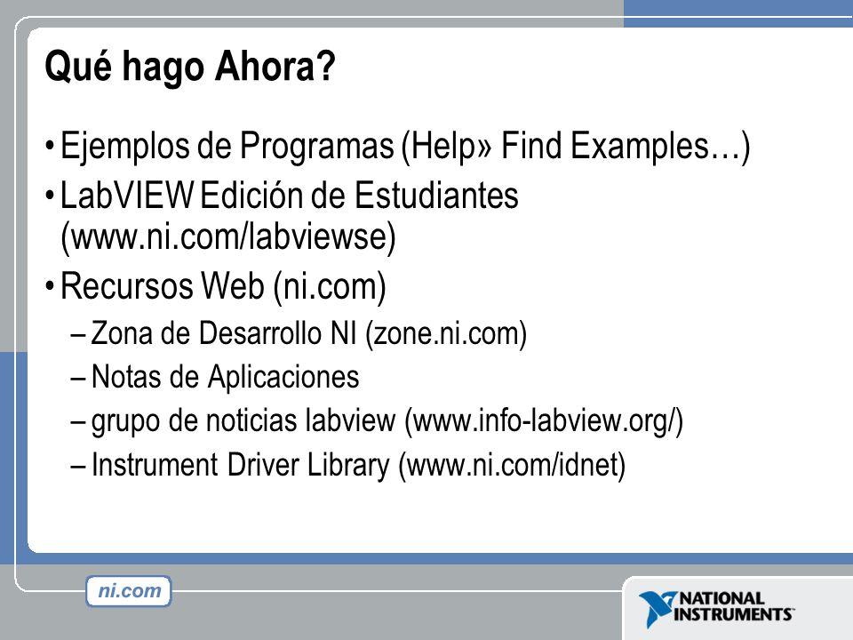 Qué hago Ahora Ejemplos de Programas (Help» Find Examples…)