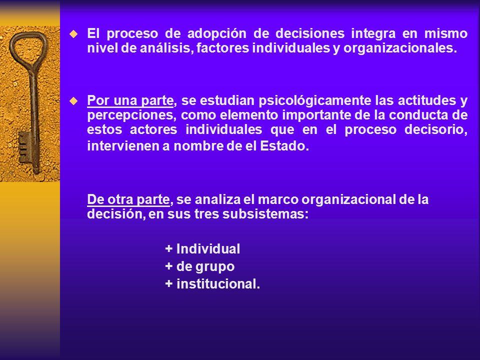 El proceso de adopción de decisiones integra en mismo nivel de análisis, factores individuales y organizacionales.