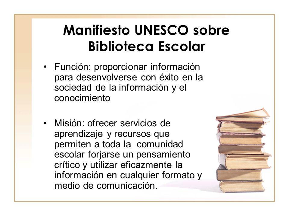 Manifiesto UNESCO sobre Biblioteca Escolar