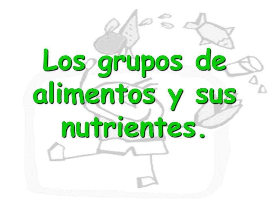 Los grupos de alimentos y sus nutrientes.