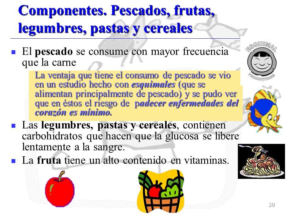 Componentes. Pescados, frutas, legumbres, pastas y cereales