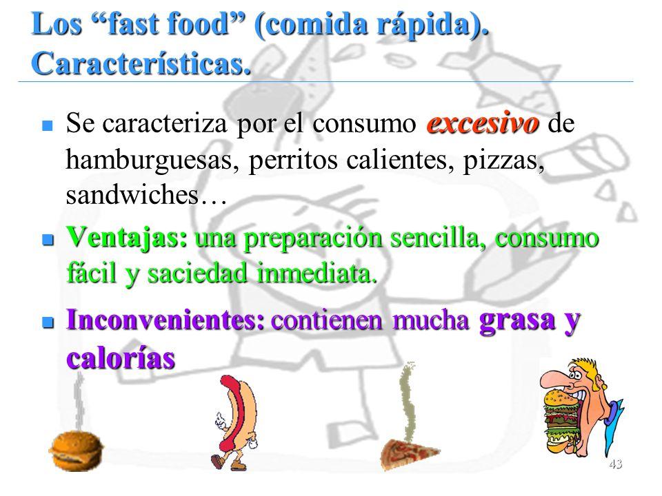 Los fast food (comida rápida). Características.