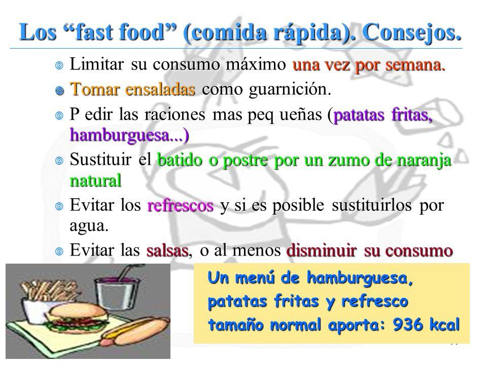 Los fast food (comida rápida). Consejos.