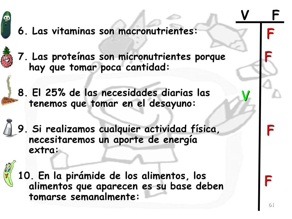 F F V F F V F 6. Las vitaminas son macronutrientes: