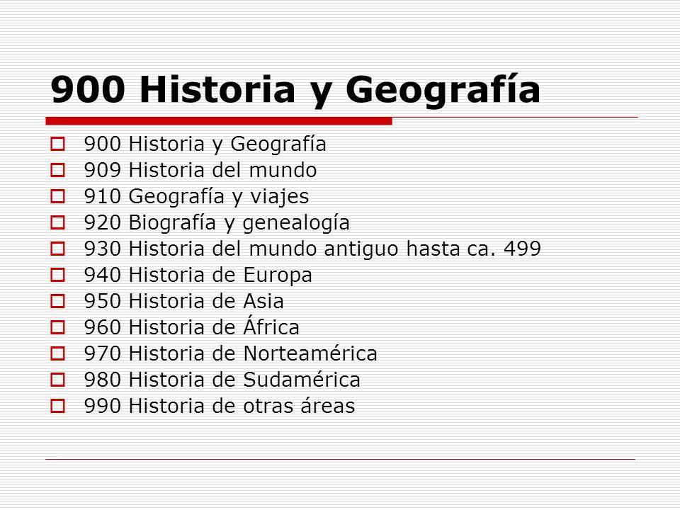 900 Historia y Geografía 900 Historia y Geografía